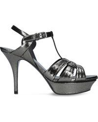 Saint Laurent - Black Tribute 75 Patent-leather Heeled Sandals - Lyst