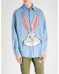 bffadb4bc67 Gucci Bugs Bunny Regular-fit Denim Shirt in Blue for Men - Lyst