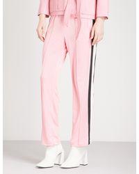Ganni - Pink Dubois High-rise Straight-leg Cotton-piqué Trousers - Lyst