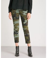 Nili Lotan - Green Jenna Camouflage-print Skinny Woven Trousers - Lyst