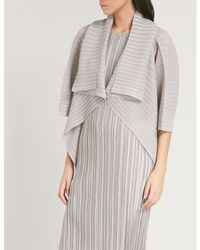 Pleats Please Issey Miyake - Gray Rib Pleated Cape - Lyst