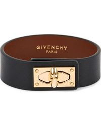 Givenchy | Black Shark-lock Leather Cuff | Lyst