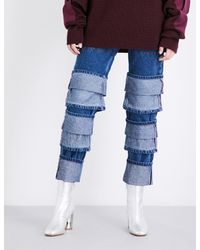 Y. Project - Blue Layered-hem Straight Cropped High-rise Jeans - Lyst