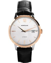 Montblanc White 111624 Meisterstück Heritage Stainless And Leather Watch for men