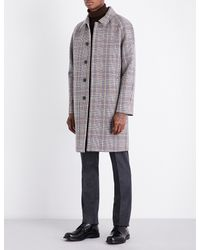 Gieves & Hawkes - Gray Houndstooth Wool Overcoat for Men - Lyst