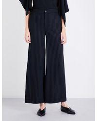 J.W. Anderson - Blue Pinstriped Wide-leg Wool-blend Trousers - Lyst