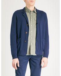 Brunello Cucinelli - Blue Funnel-neck Waffle-knit Cotton Cardigan for Men - Lyst