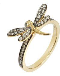 Annoushka - Black Love Diamonds 18ct Yellow-gold Dragonfly Ring - Lyst