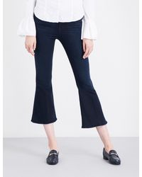 FRAME - Blue Ladies Cropped Concealed Zip Le Crop Bell Flared High-rise Jeans - Lyst