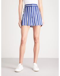 Alice + Olivia - Blue Scarlet Striped Linen-blend Shorts - Lyst