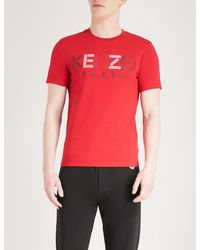 5b7d2f9de357 KENZO Logo-print Cotton-jersey T-shirt in Red for Men - Lyst