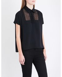 The Kooples Sport - Black Lace-insert Crepe-de-chine Polo Top - Lyst