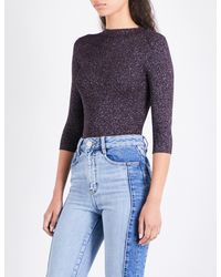 Maje - Blue Mio High-neck Knitted Jumper - Lyst