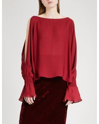 Nili Lotan - Red Devon Cold-shoulder Silk-crepe Blouse - Lyst