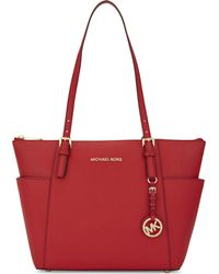 MICHAEL Michael Kors - Red Jet Set Leather Tote - Lyst