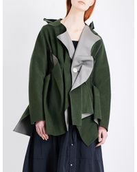 Undercover - Green Asymmetric Wool-blend Coat - Lyst
