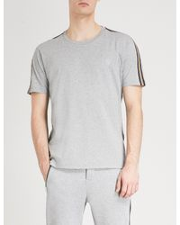 The Kooples - Gray Striped-trim Cotton-jersey T-shirt for Men - Lyst