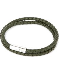 Tateossian - Green Pop Rigato Leather And Sterling Silver Bracelet for Men - Lyst