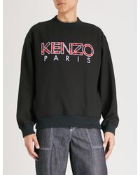 KENZO - Black Logo-embroidered Cotton-jersey Sweatshirt for Men - Lyst