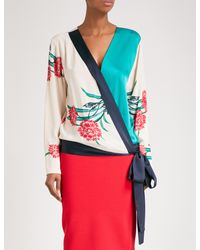 Diane von Furstenberg - Red Floral-print V-neck Satin Blouse - Lyst