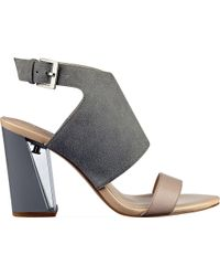 Nine West - Gray Moshpit Block Heel Sandal - Lyst