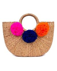 Jade Tribe | Multicolor Pom Beach Basket Bag | Lyst