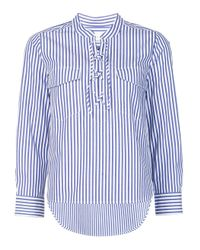 Veronica Beard | White & Blue Striped Blouse | Lyst