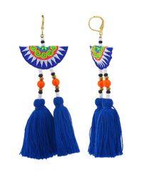 Shashi - Blue Multicolor Double Tassel Drop Earring - Lyst