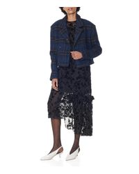 Tibi - Blue Navy Multi Dominic Plaid Cropped Oversized Coat - Lyst