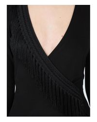 Galvan - Black Wrap Fringe Detail Dress - Lyst
