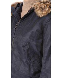 Vince | Blue Fur Trimmed Bomber Jacket | Lyst