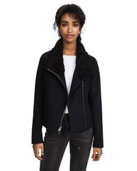 Vince - Black Double Face Shearling Scuba Jacket - Lyst