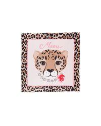 Kate Spade - Pink Cheetah Face Silk Square - Lyst