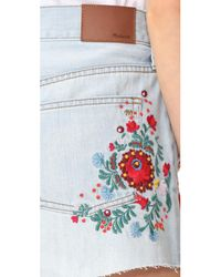 Madewell - Blue The Perfect Jean Shorts: Embroidered Edition - Lyst