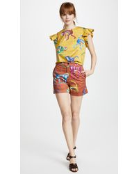 Stella Jean - Yellow Cap Sleeve Monkey Blouse - Lyst
