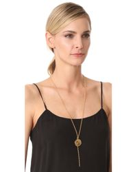 Kenneth Jay Lane - Metallic Coin Chain Lariat Necklace - Lyst