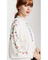 Vilshenko - White Faye Embroidered Silk Blouse - Lyst