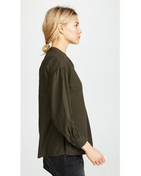Vince - Green Shirred Blouse - Lyst