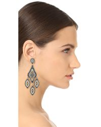 Miguel Ases - Blue Beaded Chandelier Earring - Lyst
