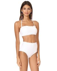 Kate Spade - White Scalloped Bandeau Bikini Top - Lyst