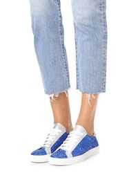South Parade - Blue Glitter Lace Up Sneakers - Lyst