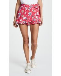 Free People - Red Flirting Fleurs Mini Skort - Lyst