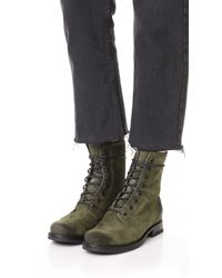 Frye - Green Veronica Combat Boots - Lyst