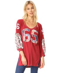 Free People | Red Floral Bomb Tee | Lyst