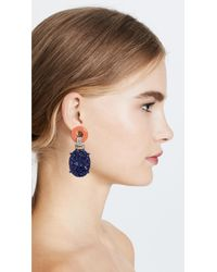 Kenneth Jay Lane - Blue Carved Drop Deco Clip Earring - Lyst