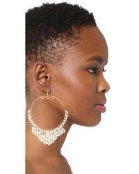 Kenneth Jay Lane - White Seed Bead Hoop Earrings - Lyst