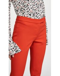 MILLY - Red Stretch Crepe Cigarette Pants - Lyst