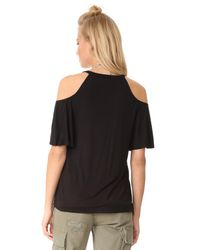 Chaser - Black Cold Shoulder Flounce Sleeve Top - Lyst