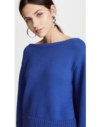 MILLY - Blue Cropped Sweater - Lyst