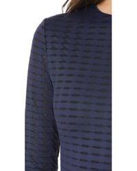 Twenty - Blue Fleury Framed Mesh Long Sleeve Crew Neck Dress - Lyst